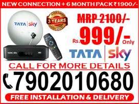 New Tata Sky SD & HD 6 Month Free @1900 Tatasky Dth. Airtel Dish tv.