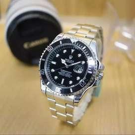 Jam tangan pria rolex-silver plat hitam