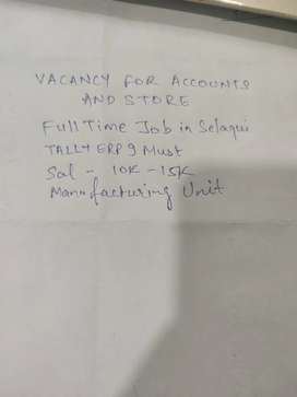 Accounts and store person required