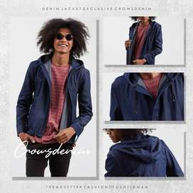Jaket Denim Pria Semi Parka Hooded Simply Style - SK95