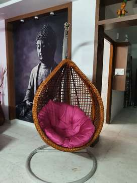 Cane bamboo swing with stand