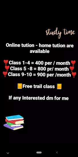 Online tution - home tution are available