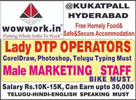 Wanted Lady DTP OPERATORS FREE FOOD ACCOMMODATION 10000 TO30000