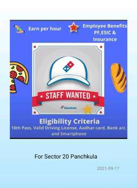 We want delivery boys for Domino. s Pizza Store sec 20 panchkual