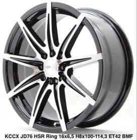 di jual velg KCCX JD76 HSR R16X65 H8X100-114,3 ET42 BK/MF