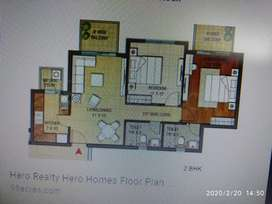 FLAT FOR SALE 2Bhk facing park Hero homes mohali chandigarh