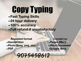 Home based job available of typing work