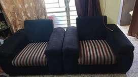 Sofa set black and red cream stripes