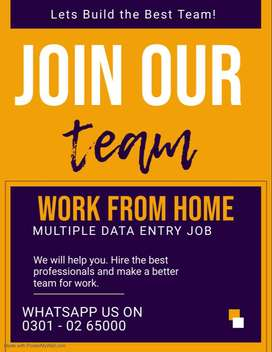 Work from home multiple online data entry job are offering in Pakistan