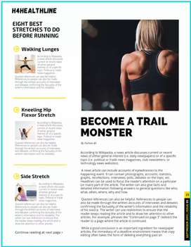 I will write a SEO friendly health and fitness article for you!