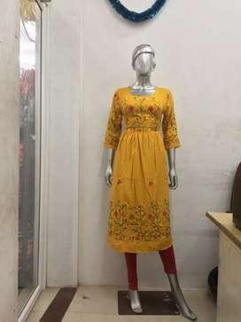 Rayon embroidery umbrella kurthy for sale