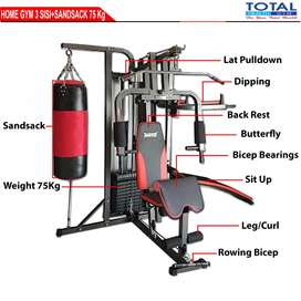 Home Gym 3 Sisi Samsak Alat Olahraga Angkat Beban 75kg