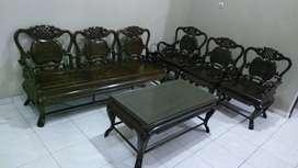 Kursi tamu jati tua antik kuno model china satu set plus meja