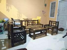 Kursi bambu hitam 1 set