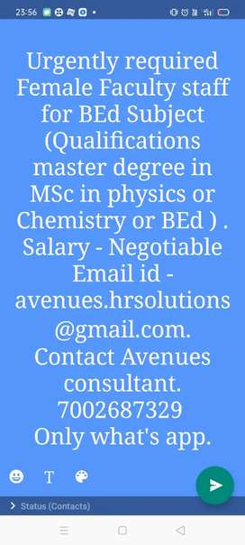 Urgently required Faculty staff for BED Subject at Ghy
