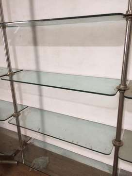 Glass wall self with ss pipe fitting