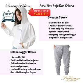 AM00592 Celana Setelan Satu set Sweater cewek dan celana joger