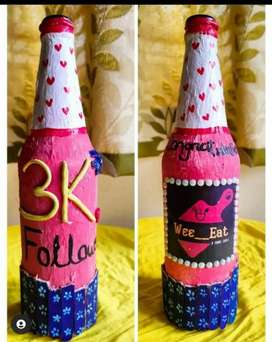 Glass Bottle painting gift for your loved ones and home decor