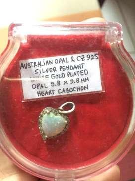 Liontin perak + batu australian oval pendant gold