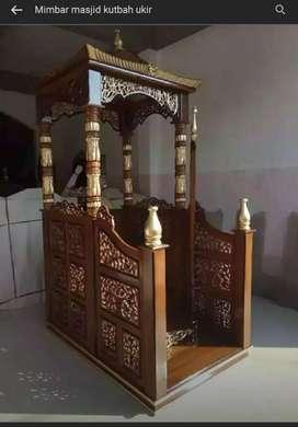 Mimbar masjid kutbah kayu jati modern