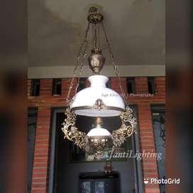 Lampu gantung antik repro katrol betawi kerek hias joglo gazebo lawasa