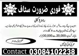 Staff required Males/Females