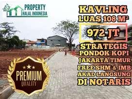 Tanah Kavling Luas 108 m2 Pondok Kopi Jakarta Timur Free SHM & IMB