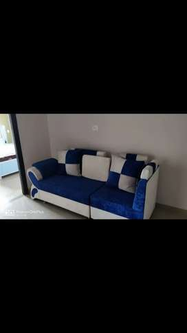 Sectional sofa with bed and mattress also dressing table