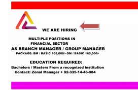 We are hiring Multiple position in Financial Sector