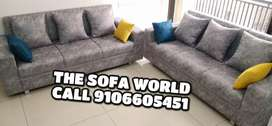 3+3 seater leather Gray sectional sofa with pillows