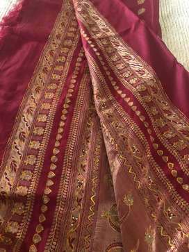 Pure silk sari Maroon amd georgette churidhar set with silver beads