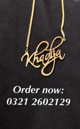 Gold plated name jewelry available