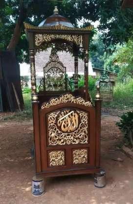 mimbar masjid kubah minimalis jati 02