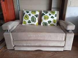 soda bed 2 seat, dengan dua bantal motif