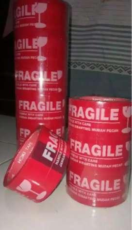 Lakban Fragile Merah / putih / Perlengkapan Onlineshop