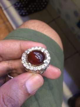 Red garnet bergiwang ring perak