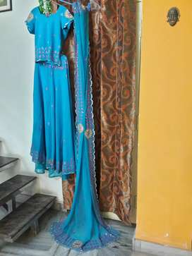 Blue Ghaghra with Top and Dupatta