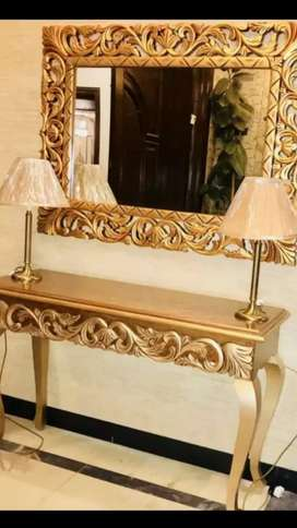 Mirror frame and console table for sale