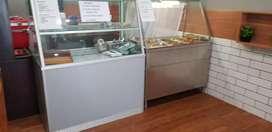 dijual murah: etalase kaca aluminum  dan bain marry (pemanas makanan)