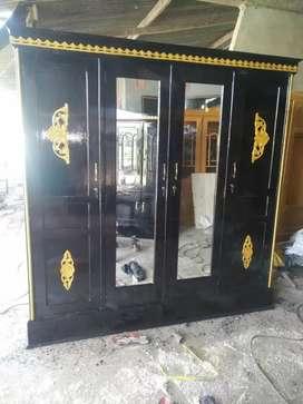 lemari 4 pintu pakaian full kayu jati full baru
