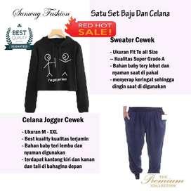AM00280 Celana Setelan Satu set Sweater cewek dan celana joger