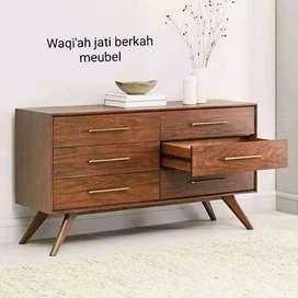 Meja tv motif Retro modern clasic, laci 6, bahan kayu jati terbaik