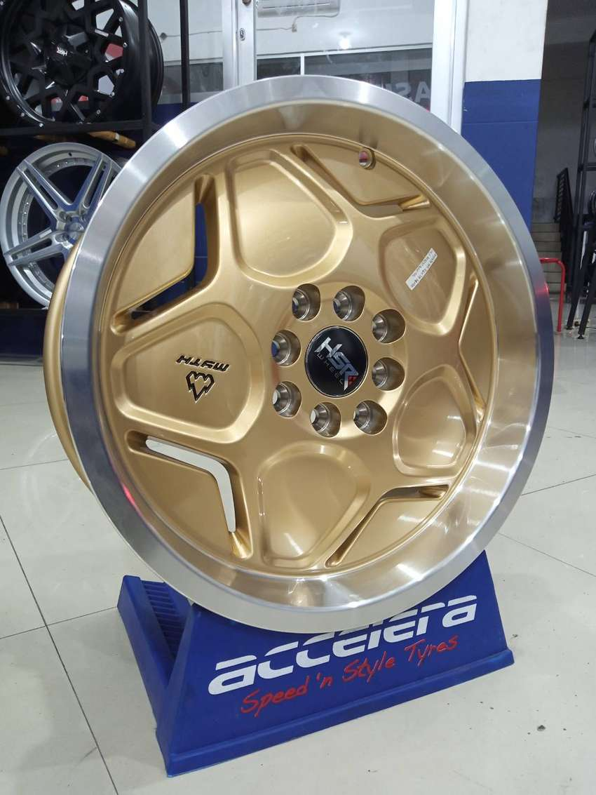 Veleg mobil Vios R16 HSR MYTH04 Ring 16 Lebar 7/8 Gold untuk Jazz Agya