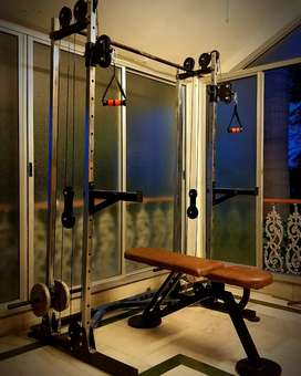 Cable crossover and gym bench