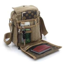 Tas Pria Import Men Vintage Canvas Travel Satchel Shoulder Bag Khaki