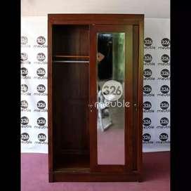 Lemari pakaian pintu 2 ,kayu jati asli