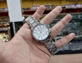jam tangan fosssil wanita 3 chrono mode on white silver rantai krepyak