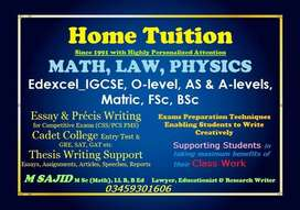HOME TUITION IGCSE, O-level, AS & A-levels, Matric, FSc, BSc Islamabad