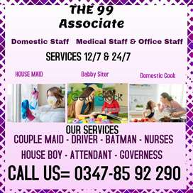 Cook Maid Baby Nanny Couple Attendant Office Boy etc available 12hr24