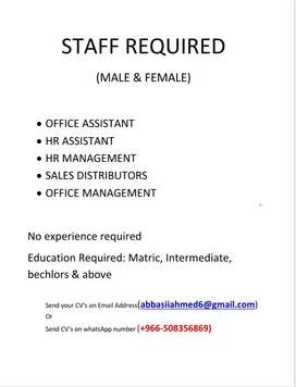 STAFF REQUIED